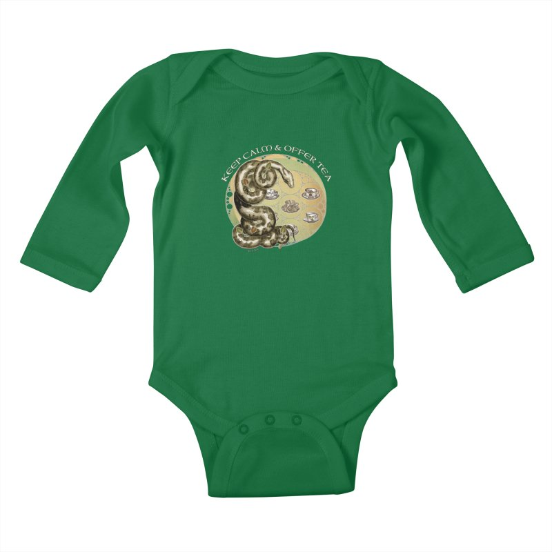 Tea Tee - Keep Calm & Offer Tea Kids Baby Longsleeve Bodysuit by theatticshoppe's Artist Shop