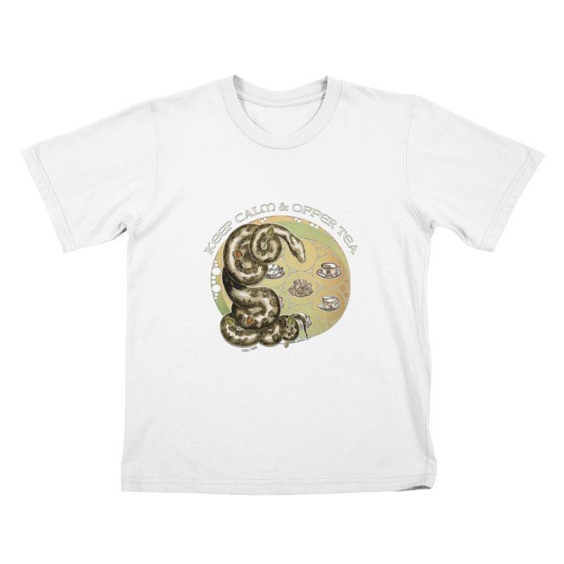 Tea Tee - Keep Calm & Offer Tea Kids T-Shirt by theatticshoppe's Artist Shop