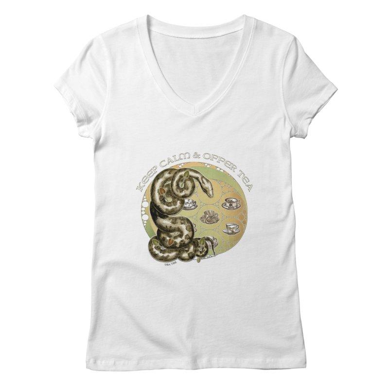 Tea Tee - Keep Calm & Offer Tea Women's Regular V-Neck by theatticshoppe's Artist Shop