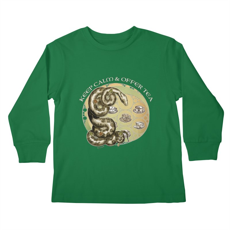 Tea Tee - Keep Calm & Offer Tea Kids Longsleeve T-Shirt by theatticshoppe's Artist Shop