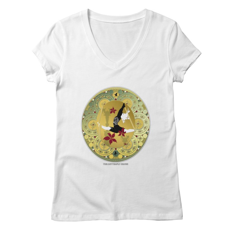 The Butterfly Circus Lenormand Flowers Landscape Women's V-Neck by theatticshoppe's Artist Shop