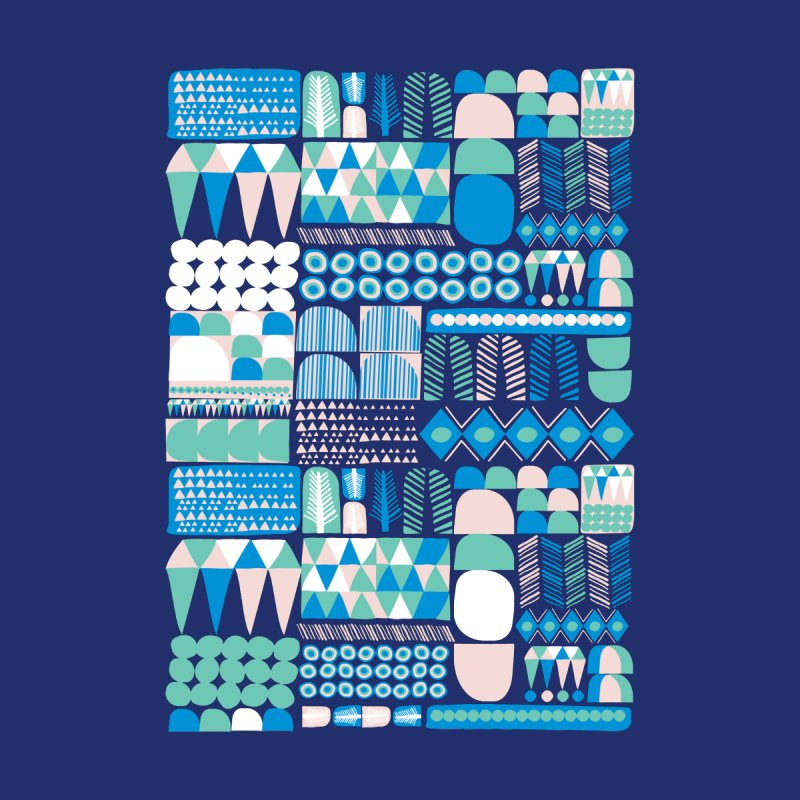 Blue Shapes & Lines Kids T-Shirt by The Babybirds