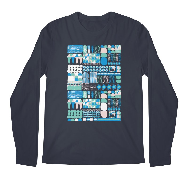 Blue Shapes & Lines Men's Longsleeve T-Shirt by The Babybirds