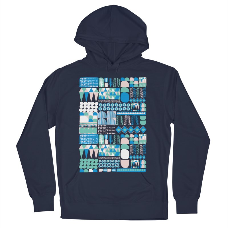 Blue Shapes & Lines Women's Pullover Hoody by The Babybirds