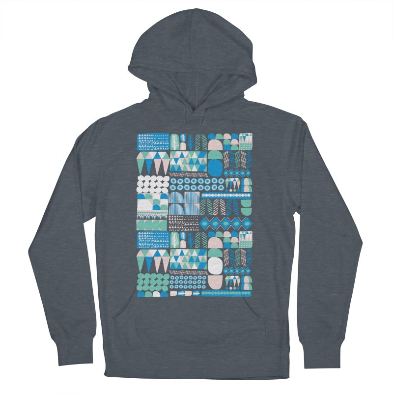Blue Shapes & Lines Men's French Terry Pullover Hoody by The Babybirds