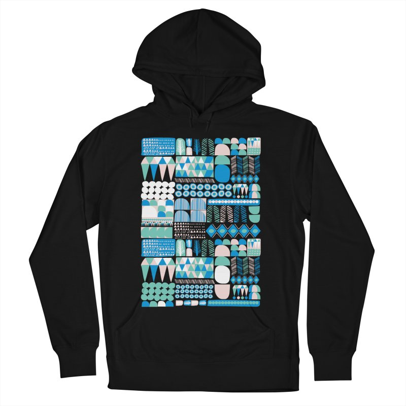 Blue Shapes & Lines Men's Pullover Hoody by The Babybirds