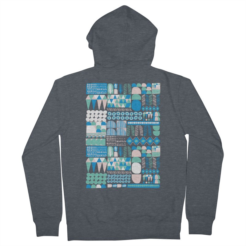 Blue Shapes & Lines Women's Zip-Up Hoody by The Babybirds