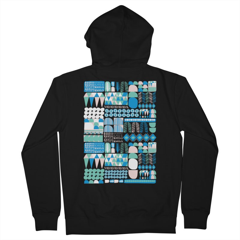 Blue Shapes & Lines Men's Zip-Up Hoody by The Babybirds
