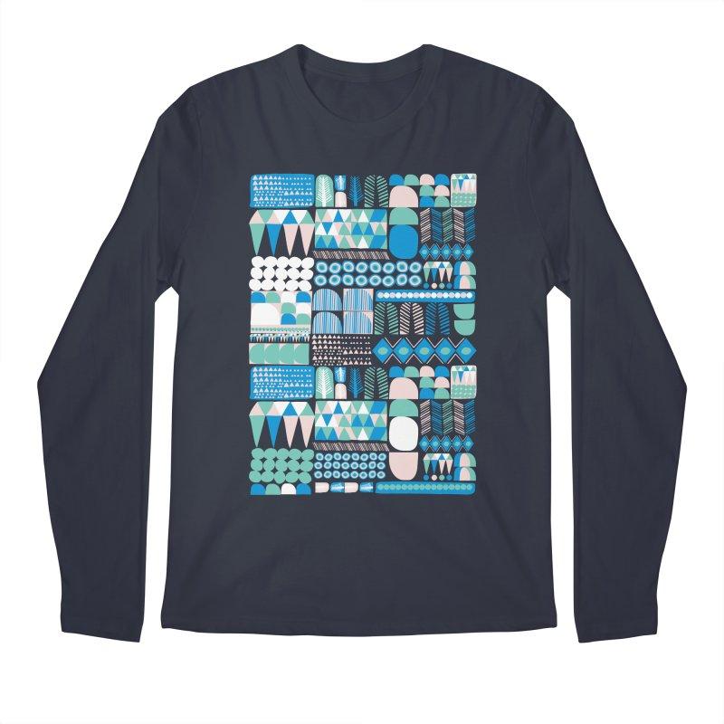Blue Shapes & Lines Men's Regular Longsleeve T-Shirt by The Babybirds