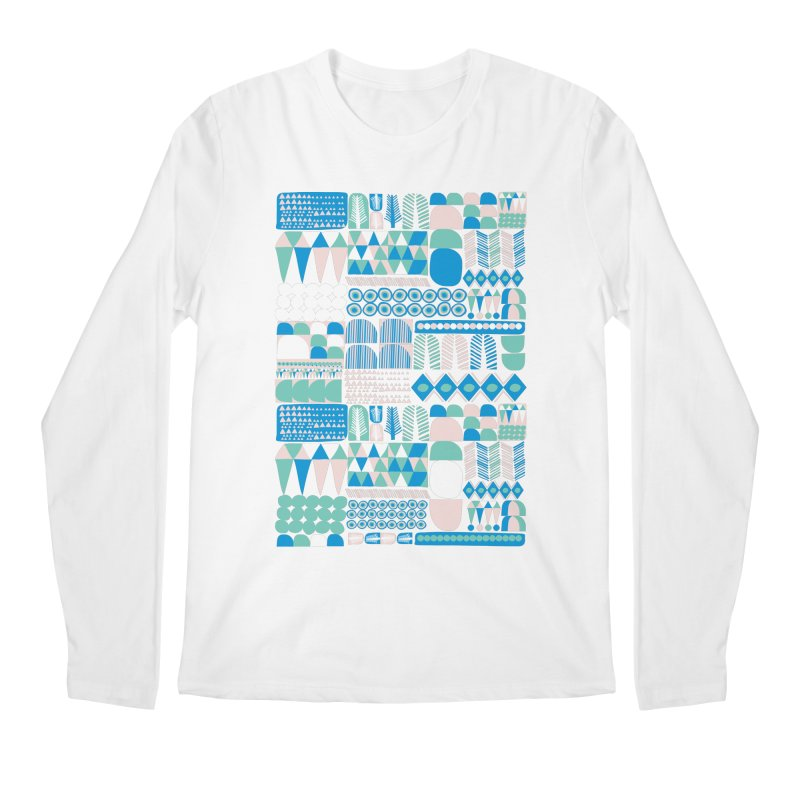 Blue Shapes & Lines Men's Regular Longsleeve T-Shirt by The Babybirds