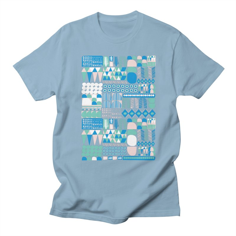Blue Shapes & Lines Men's Regular T-Shirt by The Babybirds