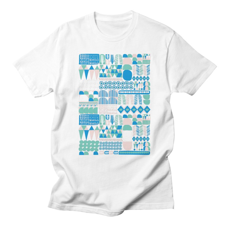 Blue Shapes & Lines Men's T-shirt by The Babybirds