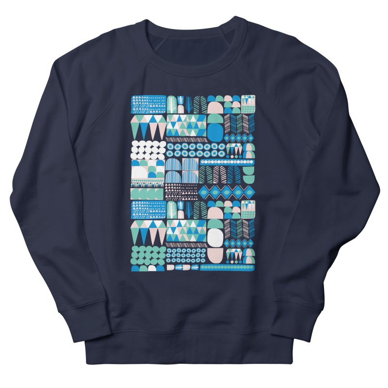 Blue Shapes & Lines Women's French Terry Sweatshirt by The Babybirds