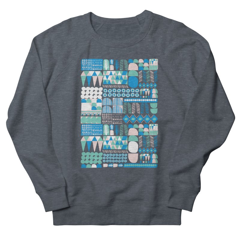 Blue Shapes & Lines Men's French Terry Sweatshirt by The Babybirds