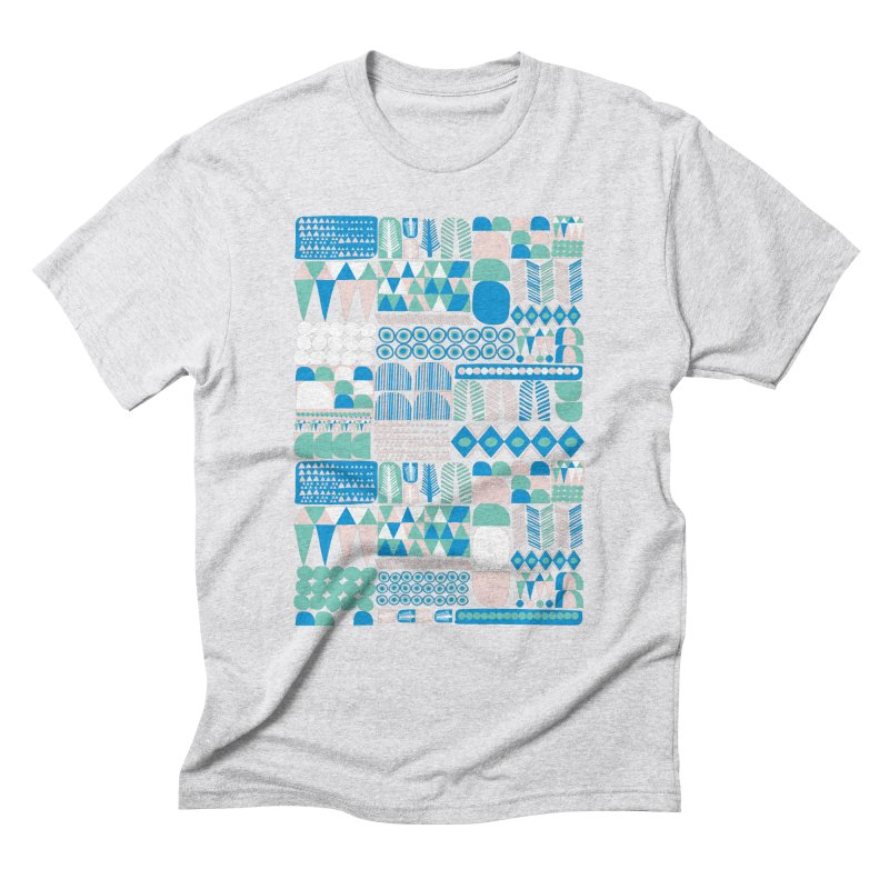 Blue Shapes & Lines Men's Triblend T-Shirt by The Babybirds
