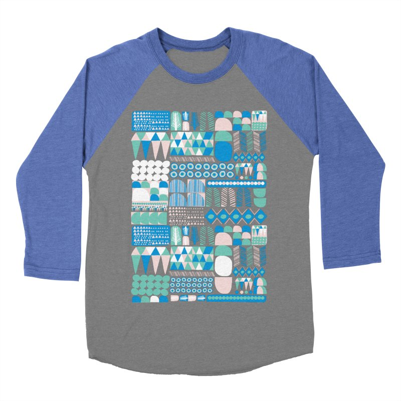 Blue Shapes & Lines Women's Baseball Triblend T-Shirt by The Babybirds
