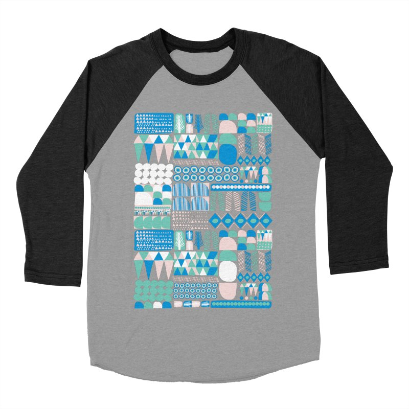 Blue Shapes & Lines Women's Baseball Triblend Longsleeve T-Shirt by The Babybirds