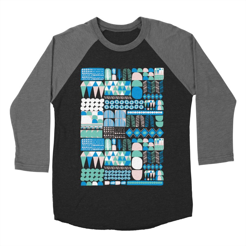 Blue Shapes & Lines Men's Baseball Triblend T-Shirt by The Babybirds