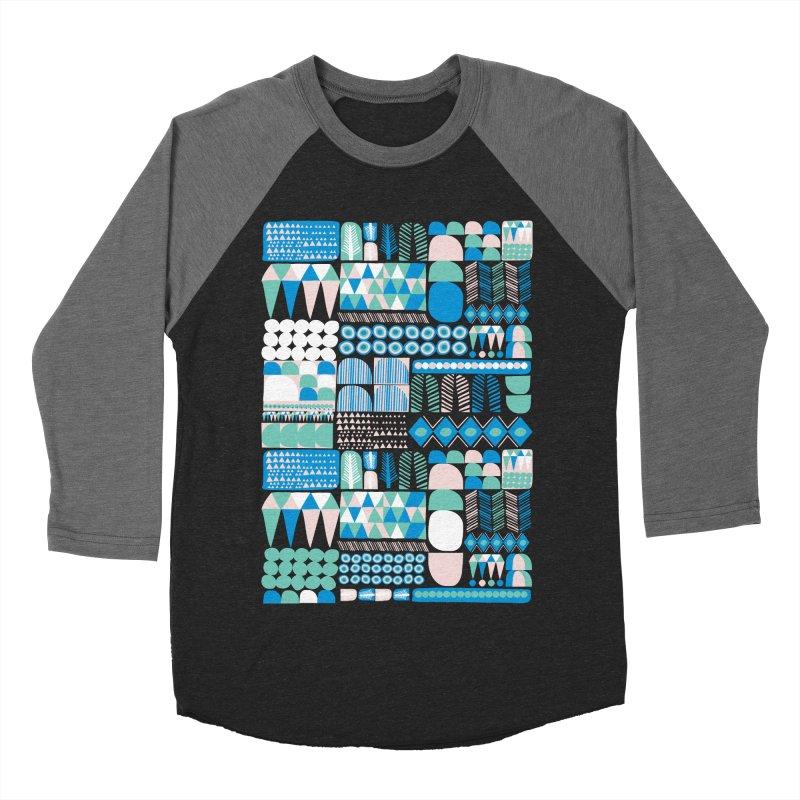 Blue Shapes & Lines Men's Baseball Triblend Longsleeve T-Shirt by The Babybirds
