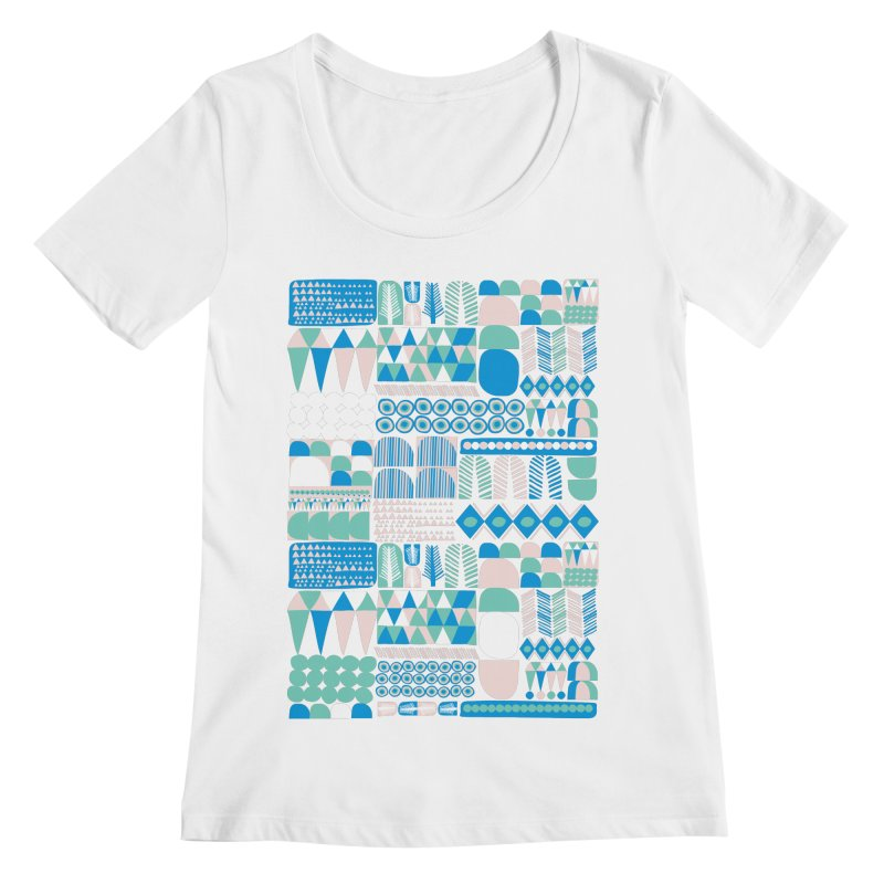 Blue Shapes & Lines Women's Regular Scoop Neck by The Babybirds