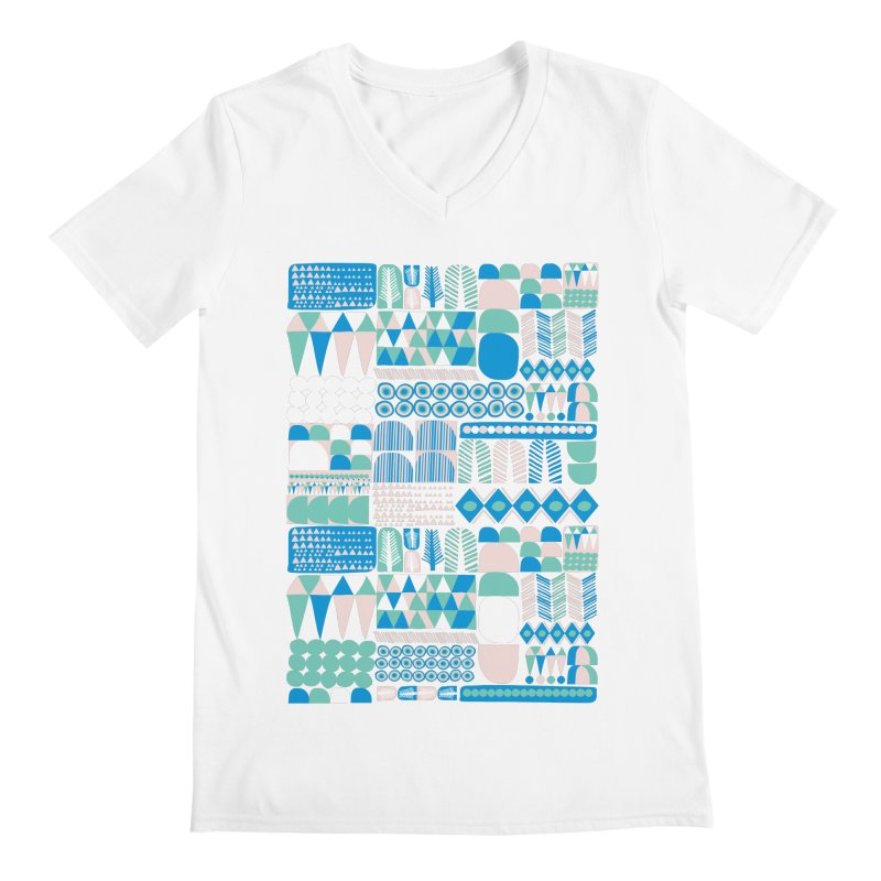 Blue Shapes & Lines Men's V-Neck by The Babybirds