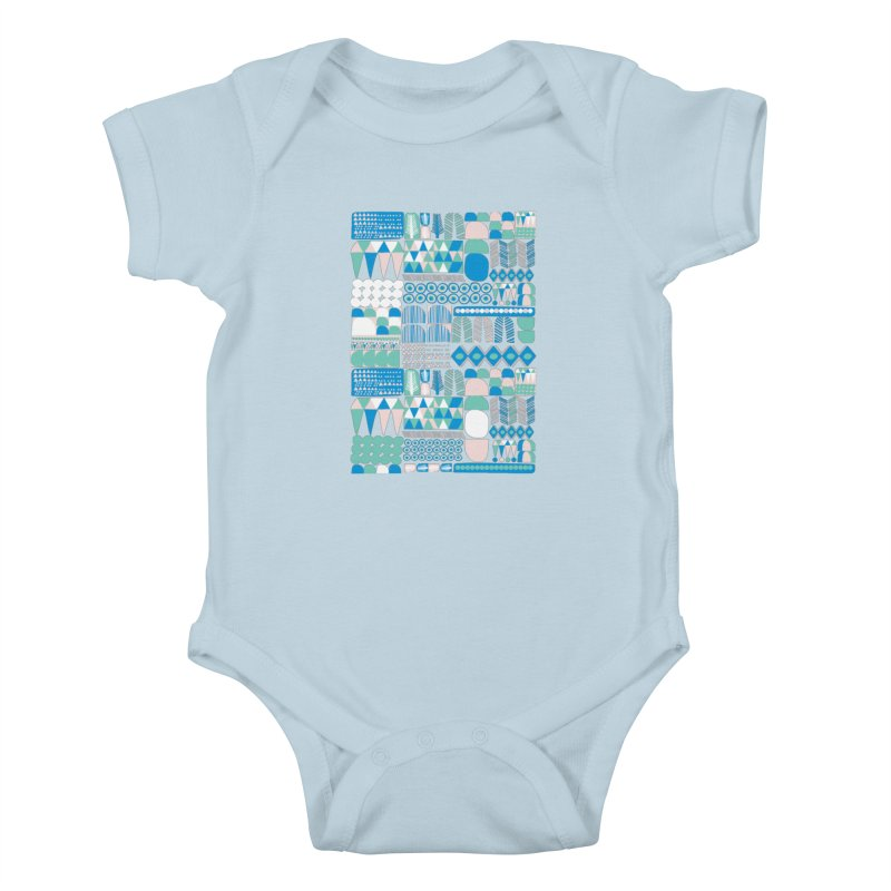 Blue Shapes & Lines Kids Baby Bodysuit by The Babybirds