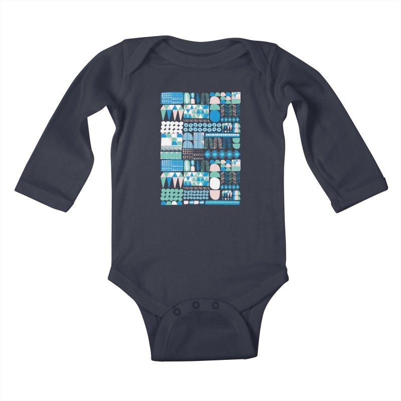 Blue Shapes & Lines Kids Baby Longsleeve Bodysuit by The Babybirds
