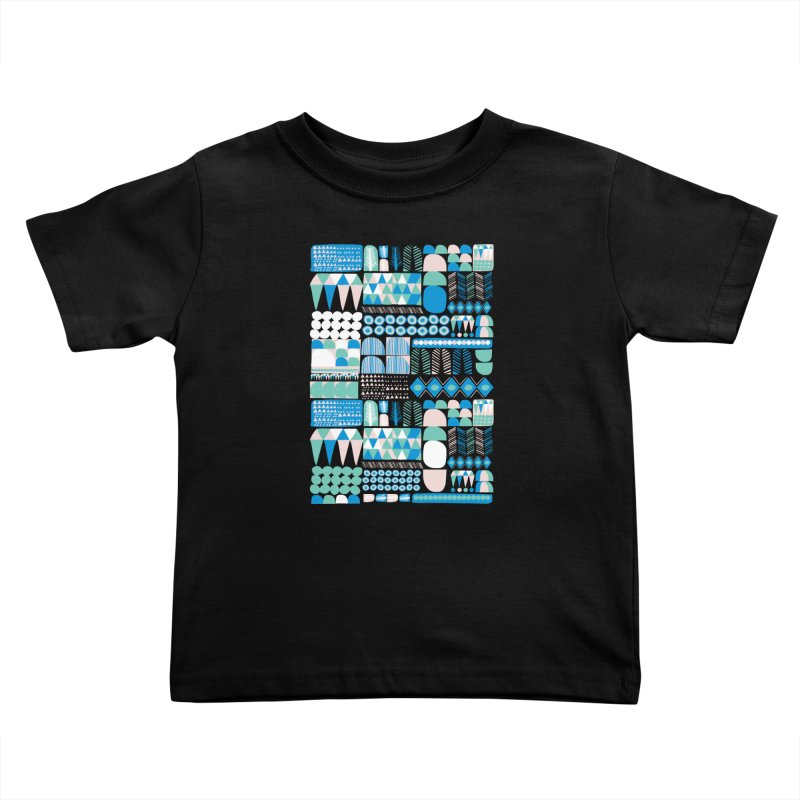 Blue Shapes & Lines Kids Toddler T-Shirt by The Babybirds