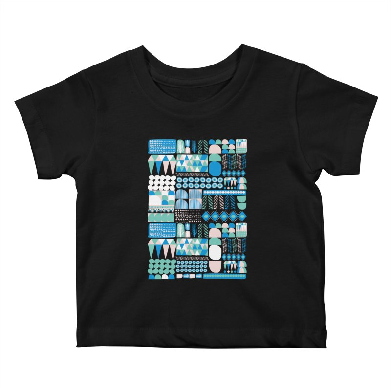 Blue Shapes & Lines Kids Baby T-Shirt by The Babybirds