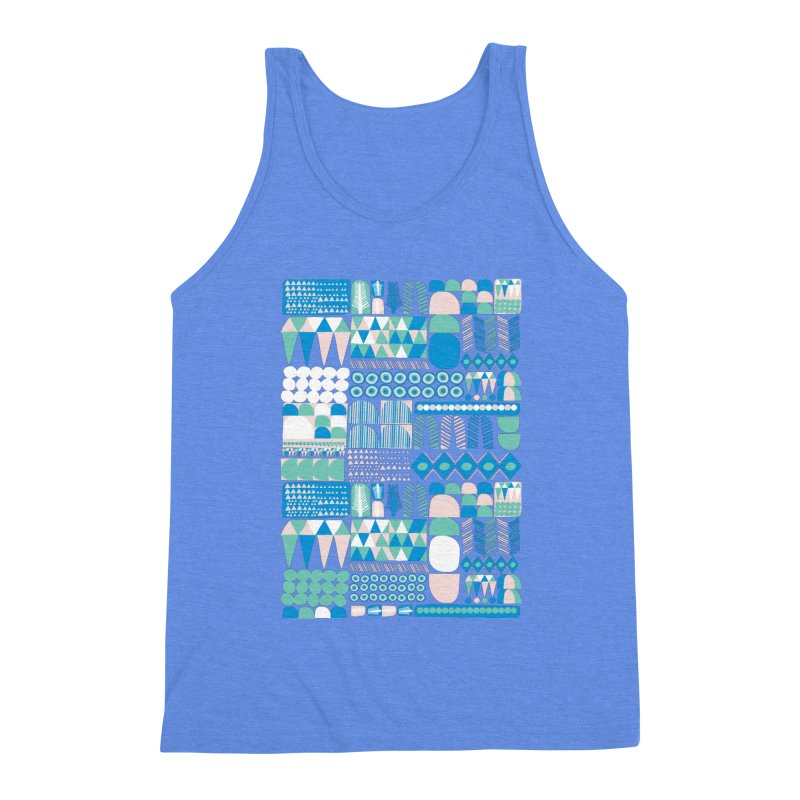 Blue Shapes & Lines Men's Triblend Tank by The Babybirds
