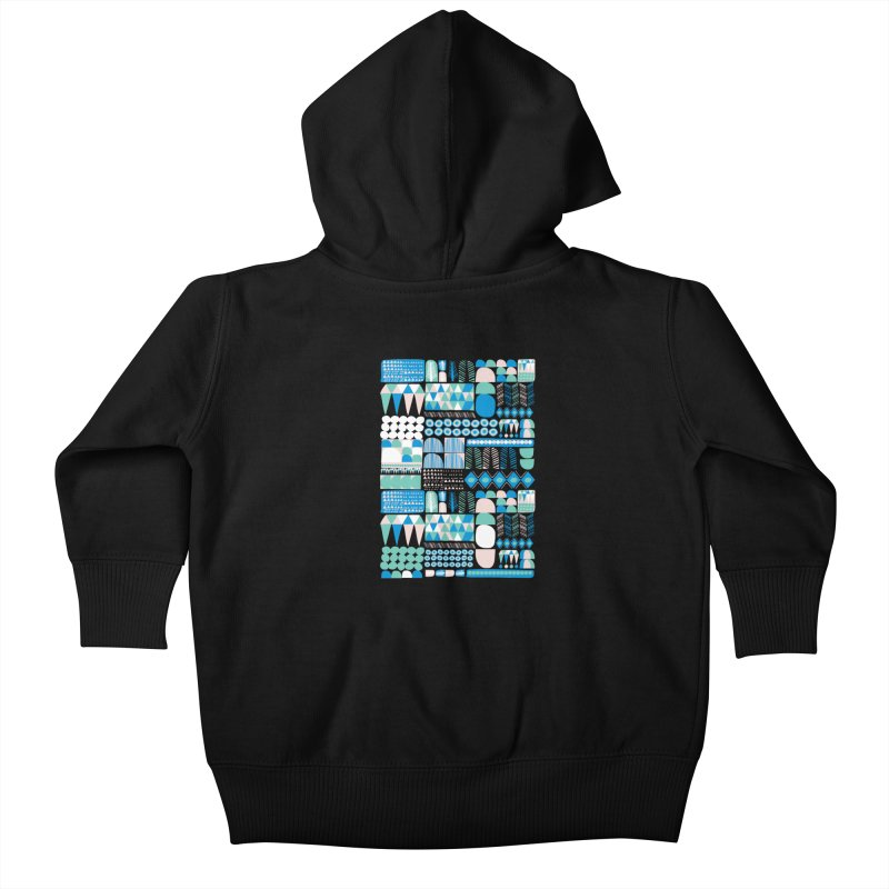 Blue Shapes & Lines Kids Baby Zip-Up Hoody by The Babybirds