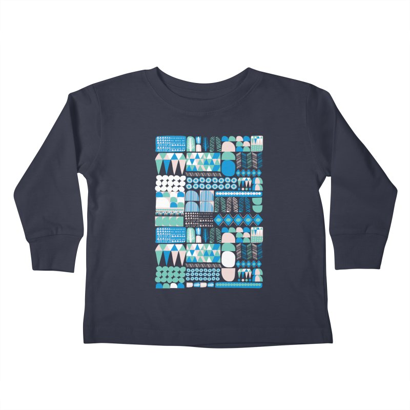 Blue Shapes & Lines Kids Toddler Longsleeve T-Shirt by The Babybirds