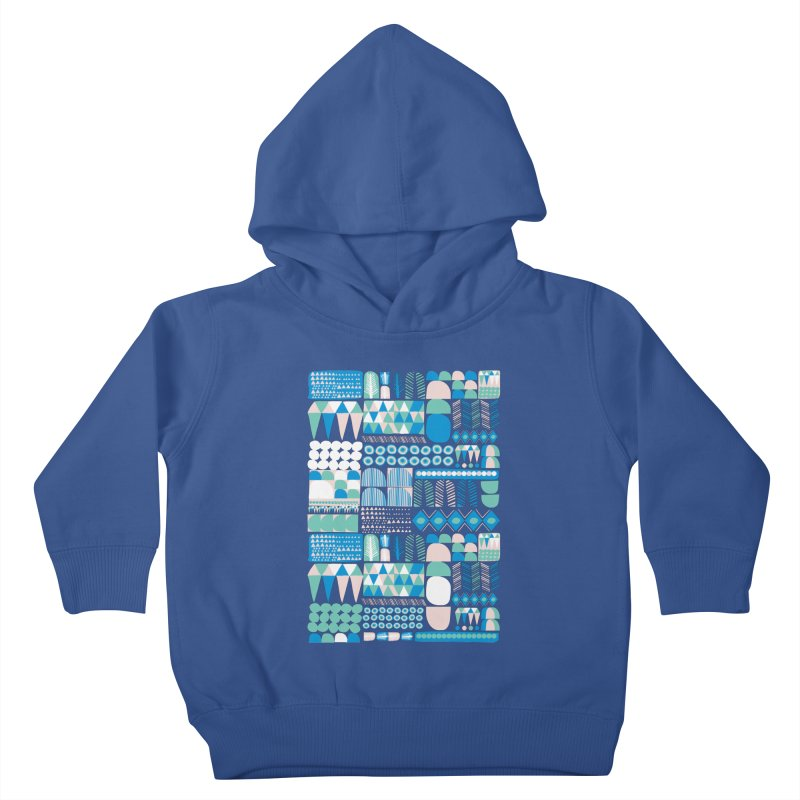 Blue Shapes & Lines Kids Toddler Pullover Hoody by The Babybirds