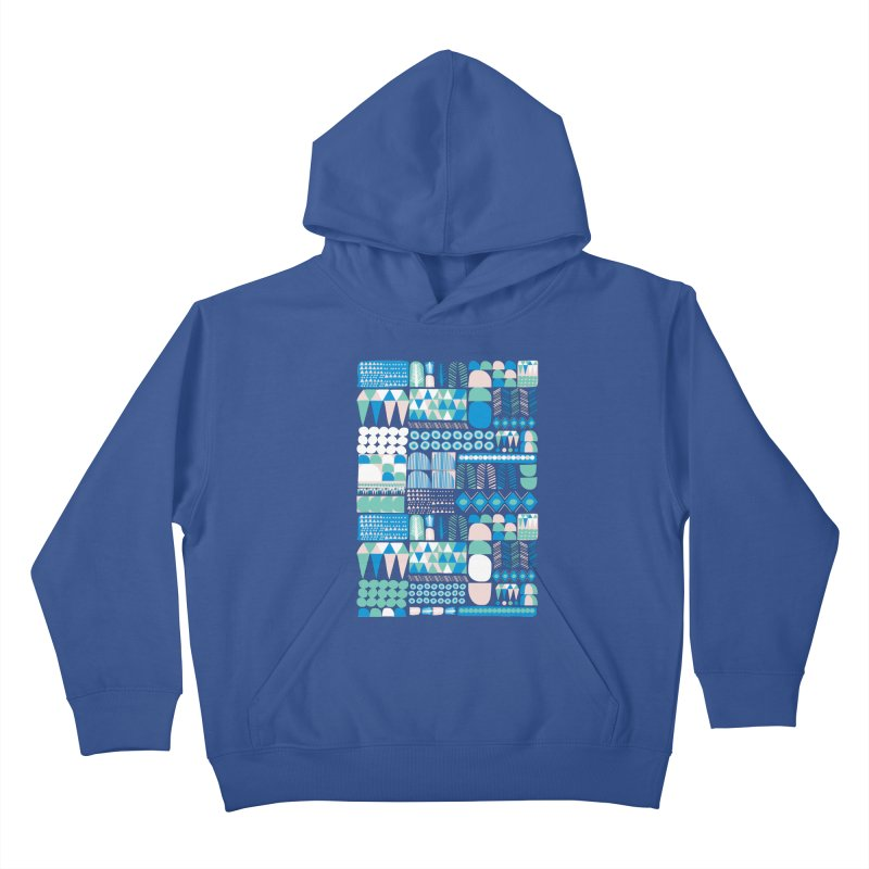 Blue Shapes & Lines Kids Pullover Hoody by The Babybirds