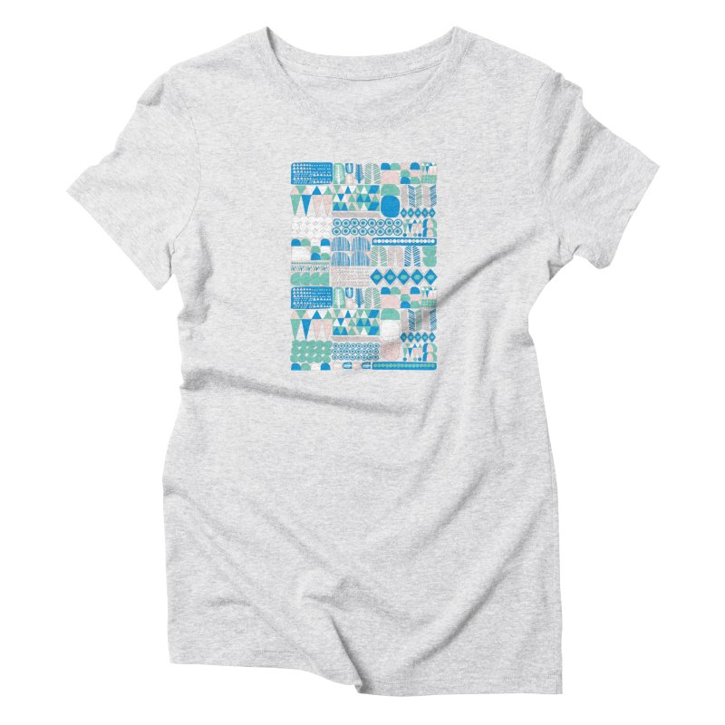 Blue Shapes & Lines Women's T-Shirt by The Babybirds