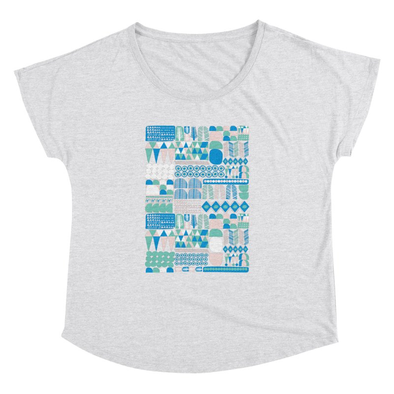 Blue Shapes & Lines Women's Dolman Scoop Neck by The Babybirds