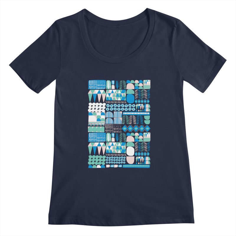 Blue Shapes & Lines Women's Scoopneck by The Babybirds