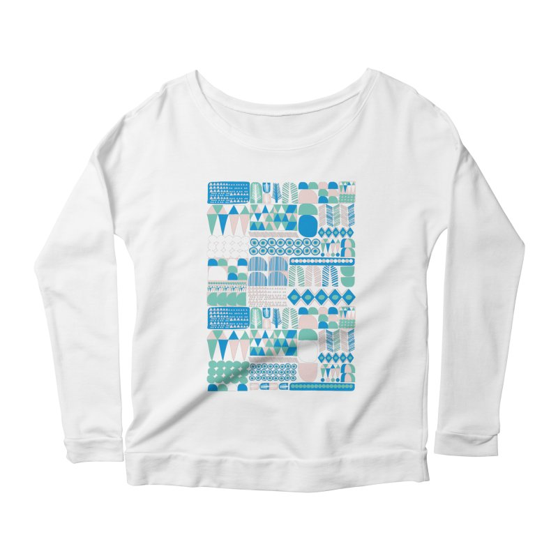 Blue Shapes & Lines Women's Longsleeve Scoopneck  by The Babybirds