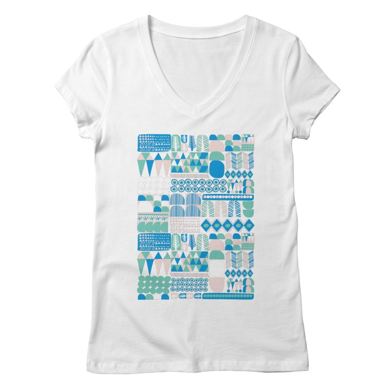 Blue Shapes & Lines Women's Regular V-Neck by The Babybirds