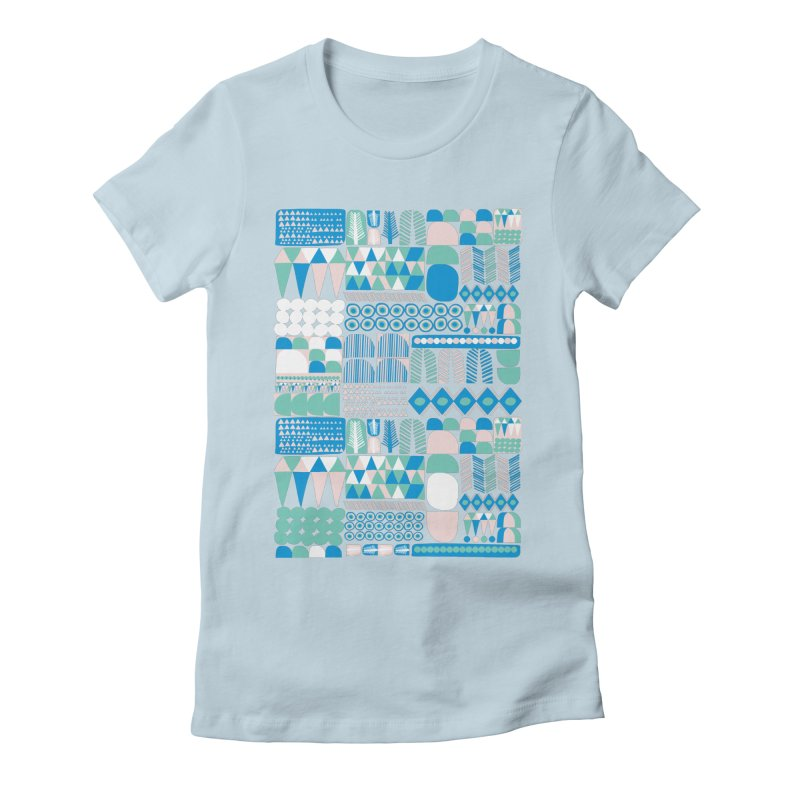 Blue Shapes & Lines Women's Fitted T-Shirt by The Babybirds