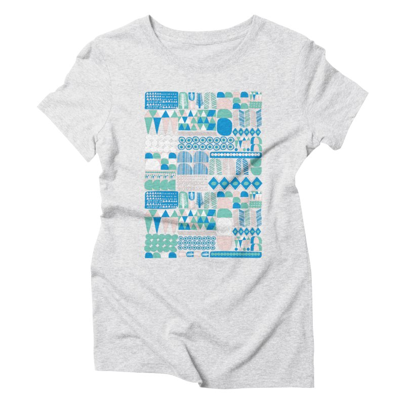 Blue Shapes & Lines Women's Triblend T-Shirt by The Babybirds