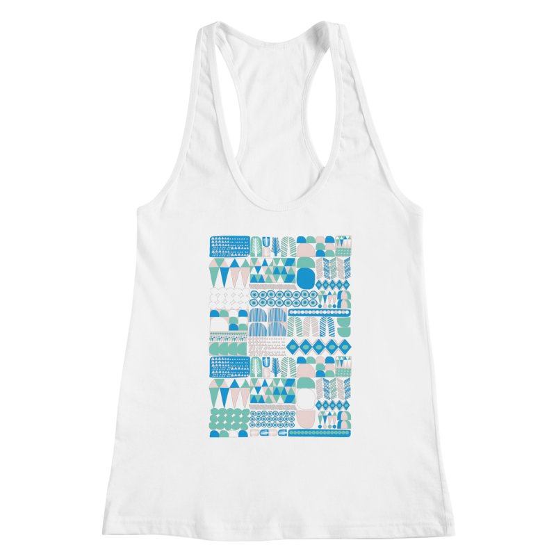 Blue Shapes & Lines Women's Racerback Tank by The Babybirds