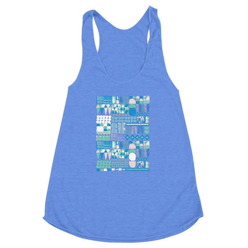 Blue Shapes & Lines Women's Racerback Triblend Tank by The Babybirds