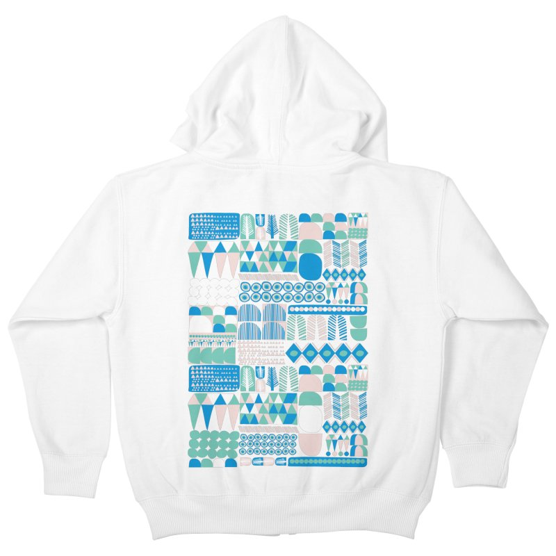 Blue Shapes & Lines Kids Zip-Up Hoody by The Babybirds