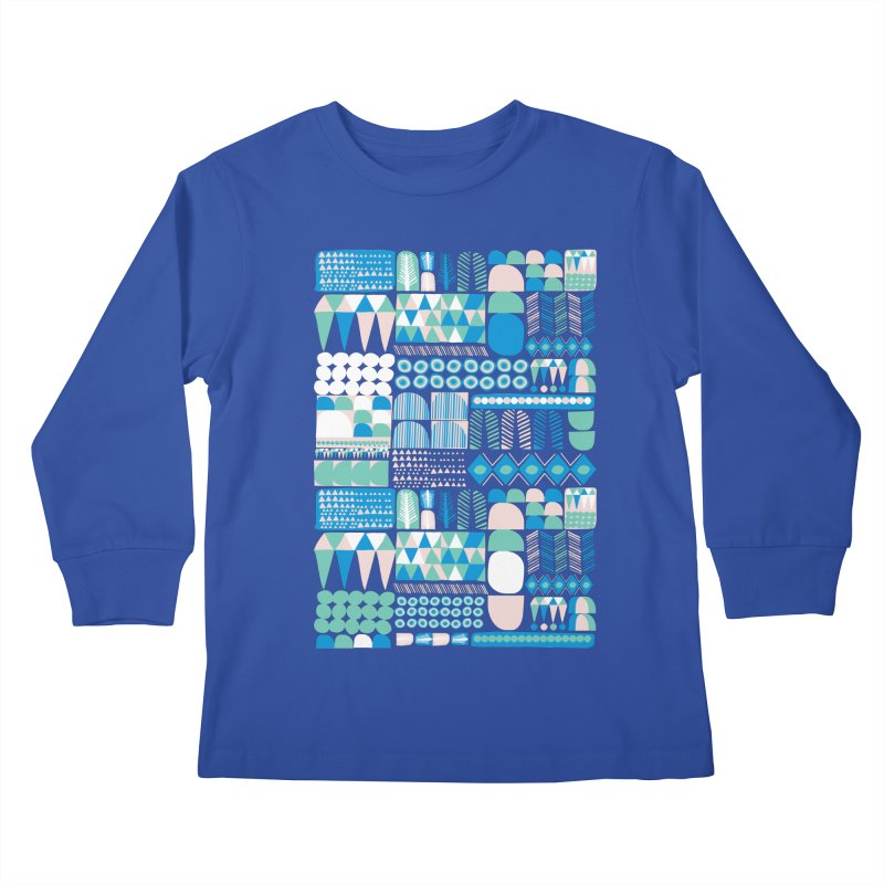 Blue Shapes & Lines Kids Longsleeve T-Shirt by The Babybirds