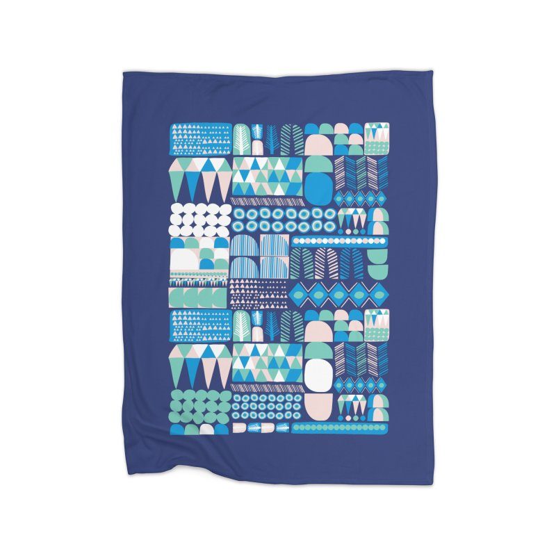 Blue Shapes & Lines Home Blanket by The Babybirds