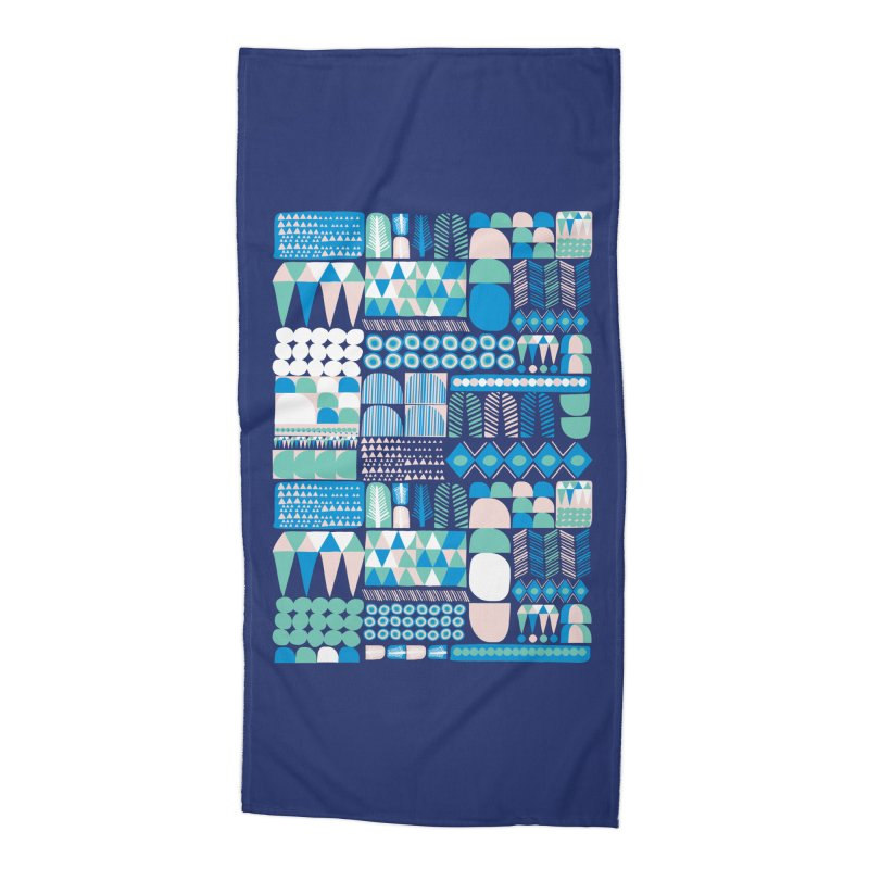 Blue Shapes & Lines Accessories Beach Towel by The Babybirds