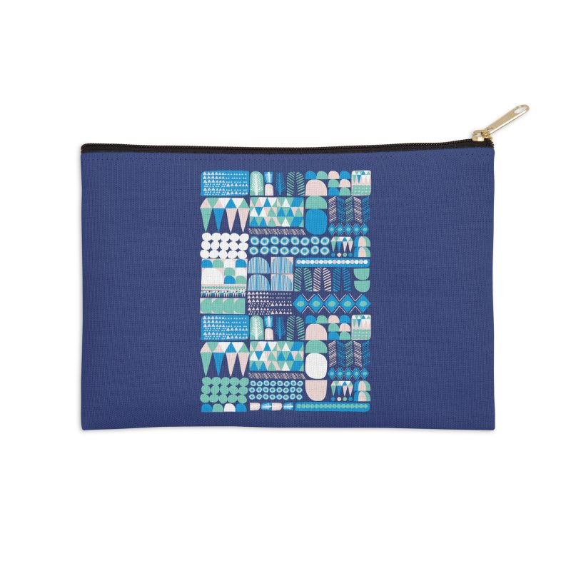 Blue Shapes & Lines Accessories Zip Pouch by The Babybirds
