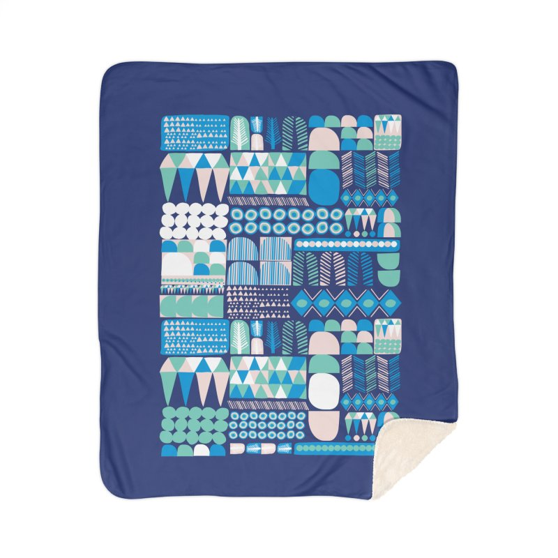 Blue Shapes & Lines Home Sherpa Blanket Blanket by The Babybirds