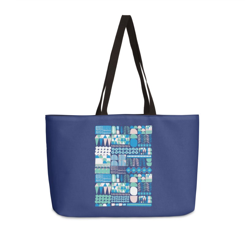 Blue Shapes & Lines Accessories Weekender Bag Bag by The Babybirds